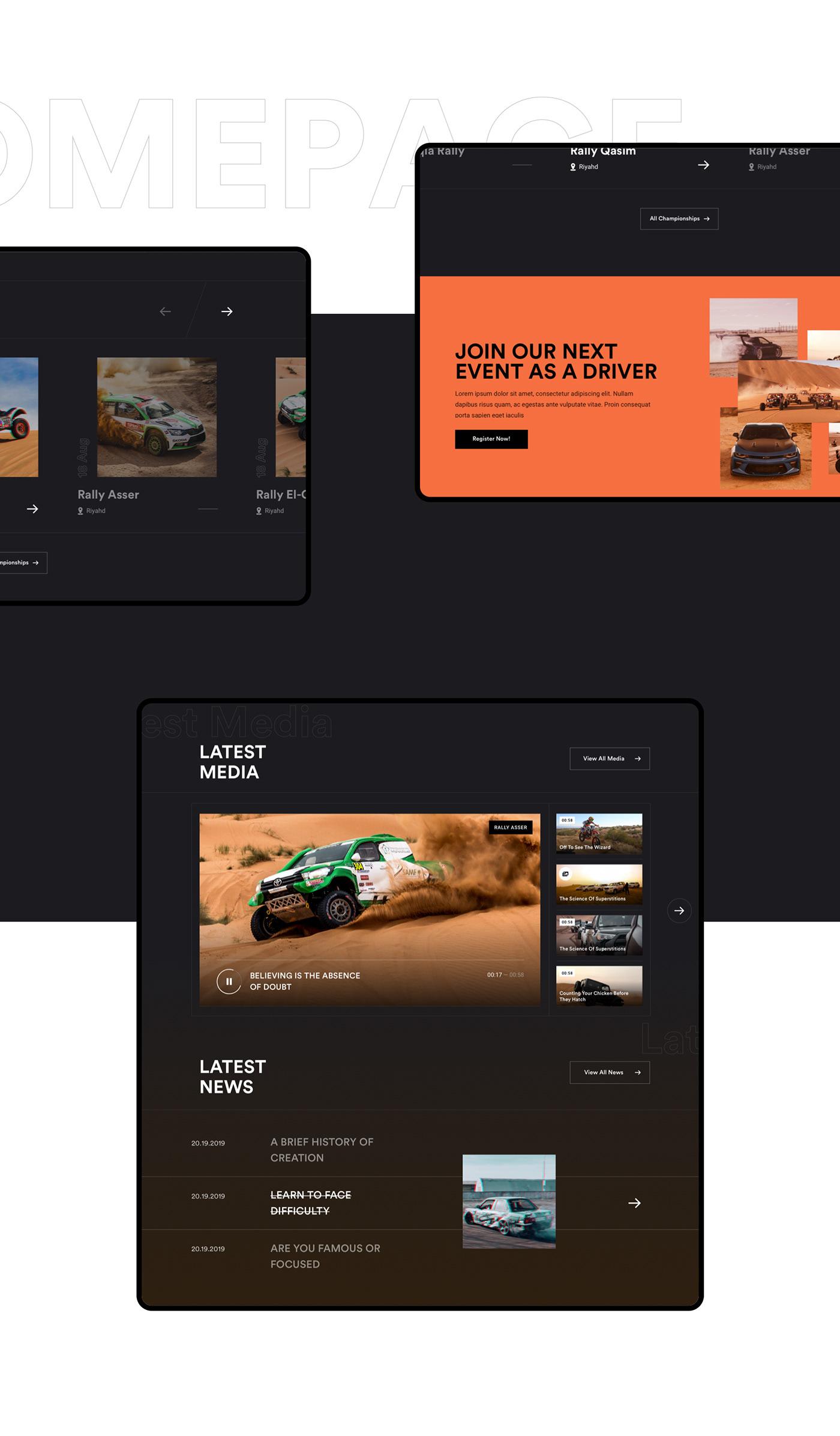 rally Saudi race championships inspiration Awards ux interactive UI