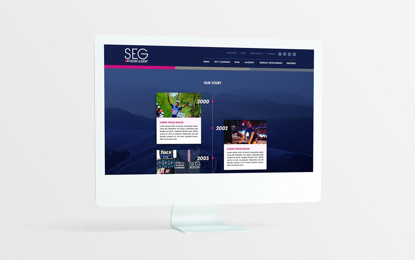 Racing bycicle sports team Web Design  web development  pink blue