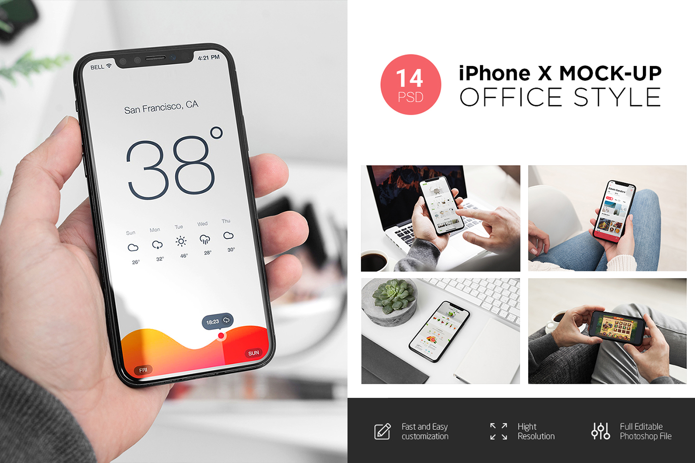 iPhone X Mock-Up (14 PSD)