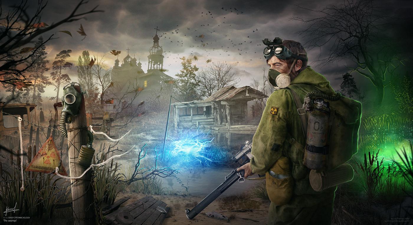 stalker chernobyl swamp apocalypse abandoned gas mask guns radiation anomaly surviving