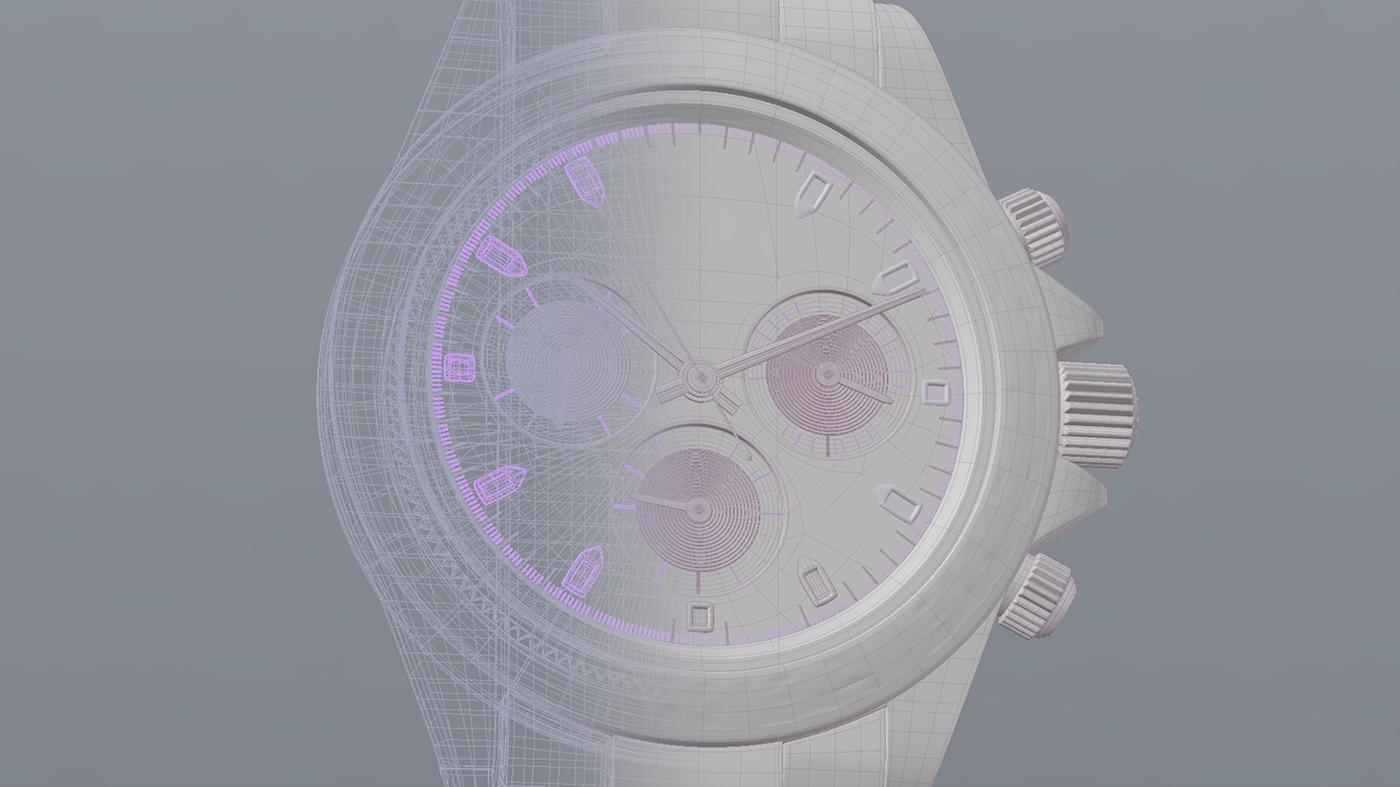 RolexDaytona,rolex,watch,3D,CGI,modo