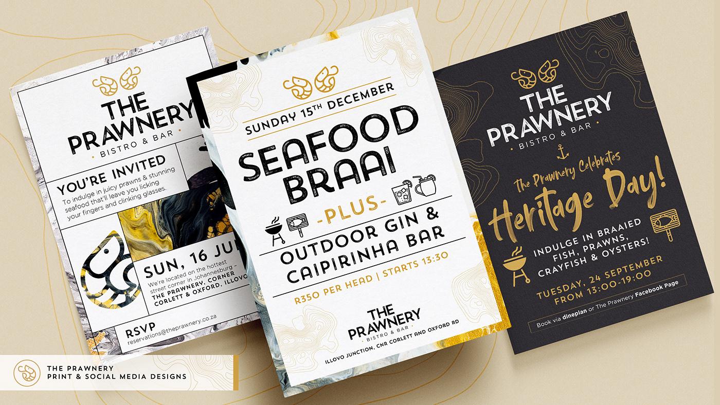 Three restaurant flyer design for The Prawnery Bistro and Bar.