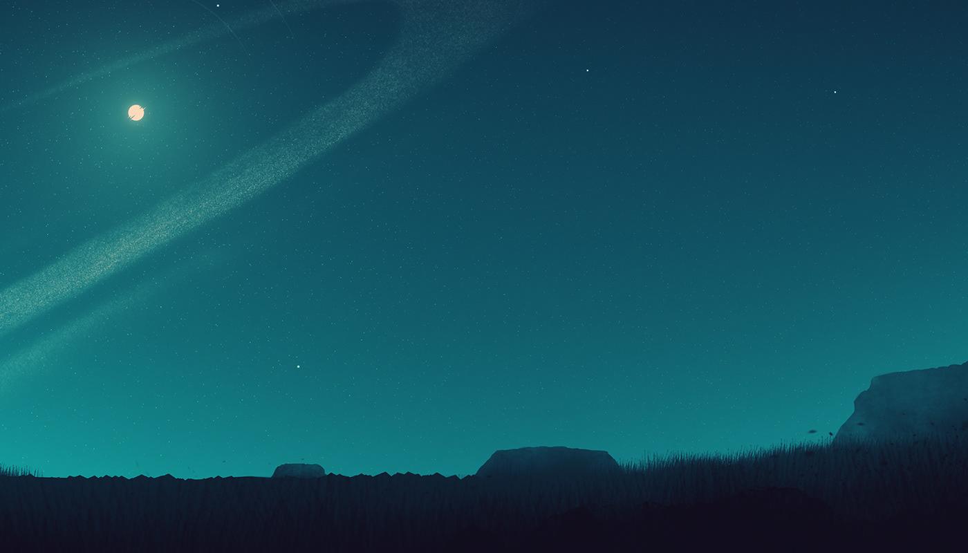 planet SKY stars horizon Landscape artwork Nature Silhouette