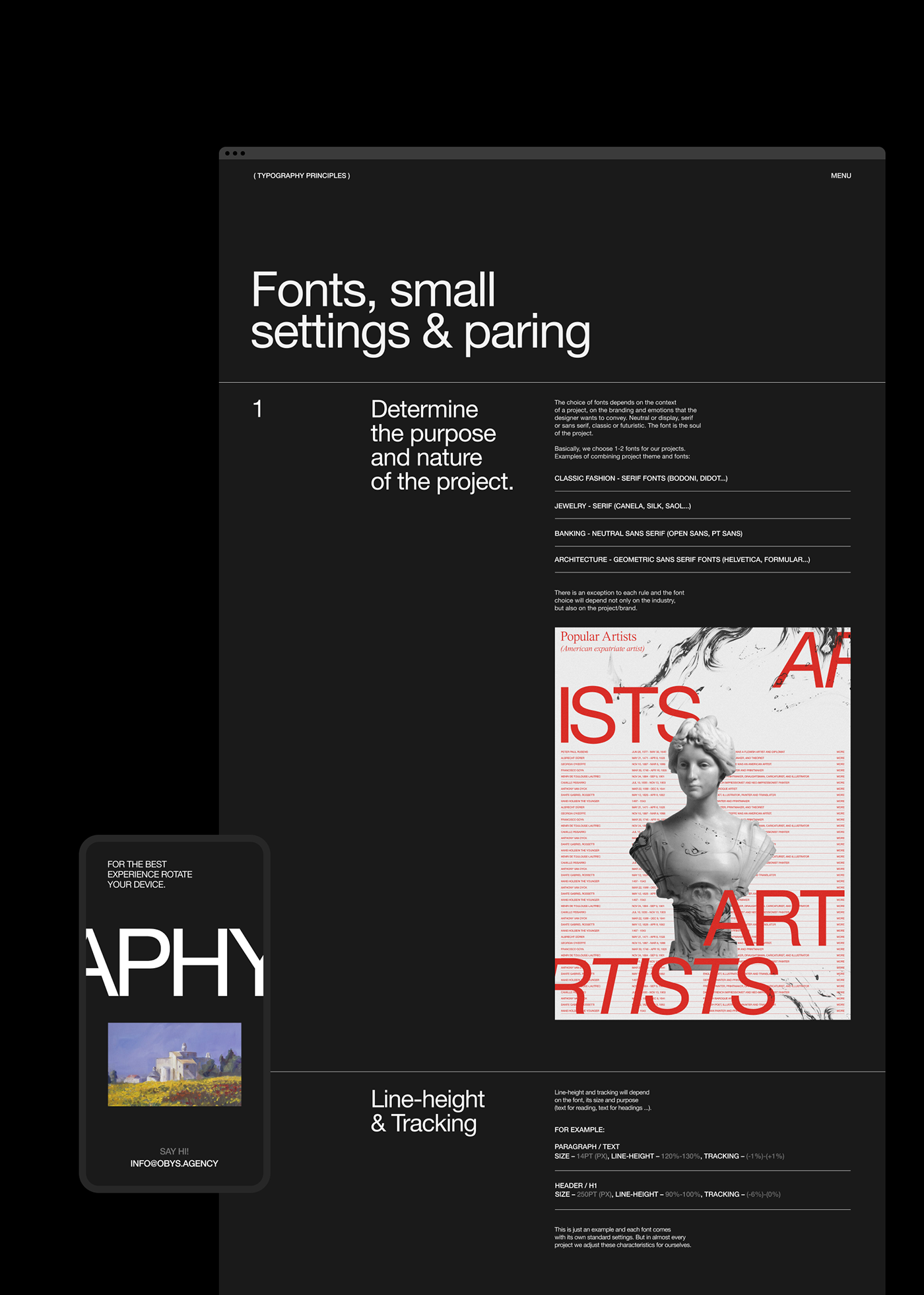 animation  black interaction minimal obys principles storytelling   swiss typography   Website