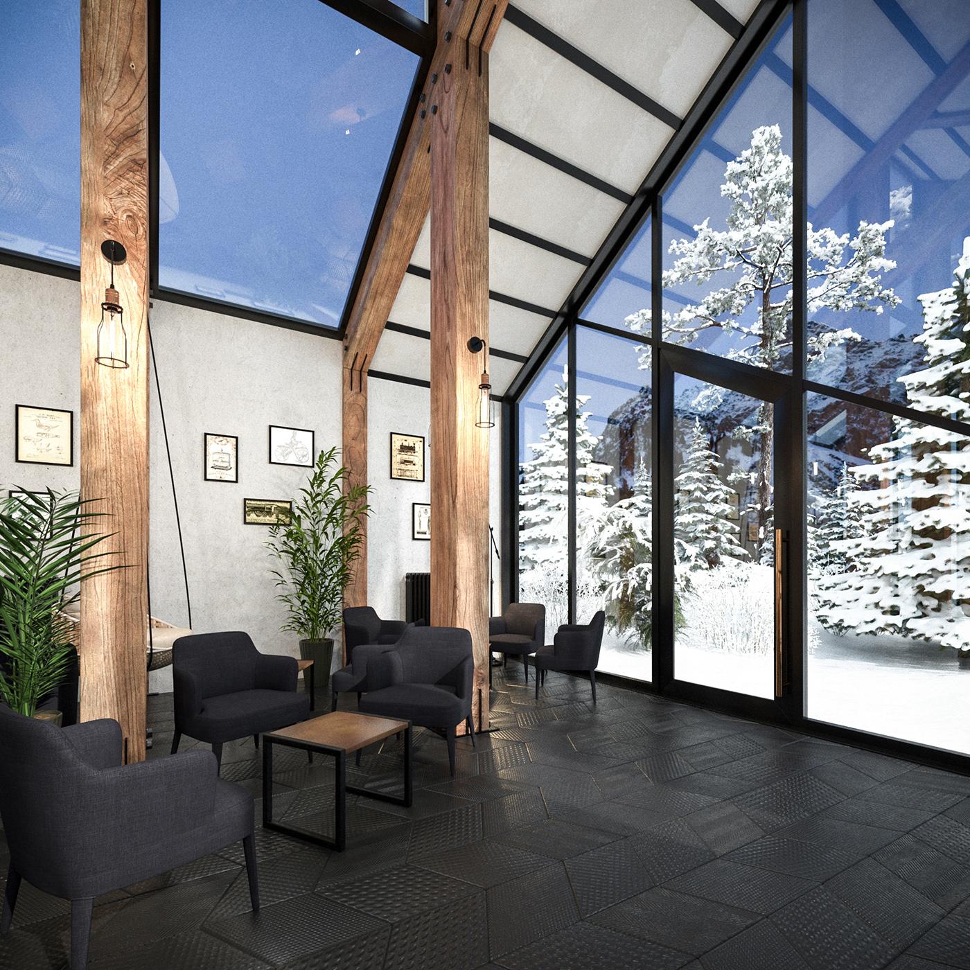 bar drinkbar public space Interior mountain interior design  architecture Wood construction cocktail bar
