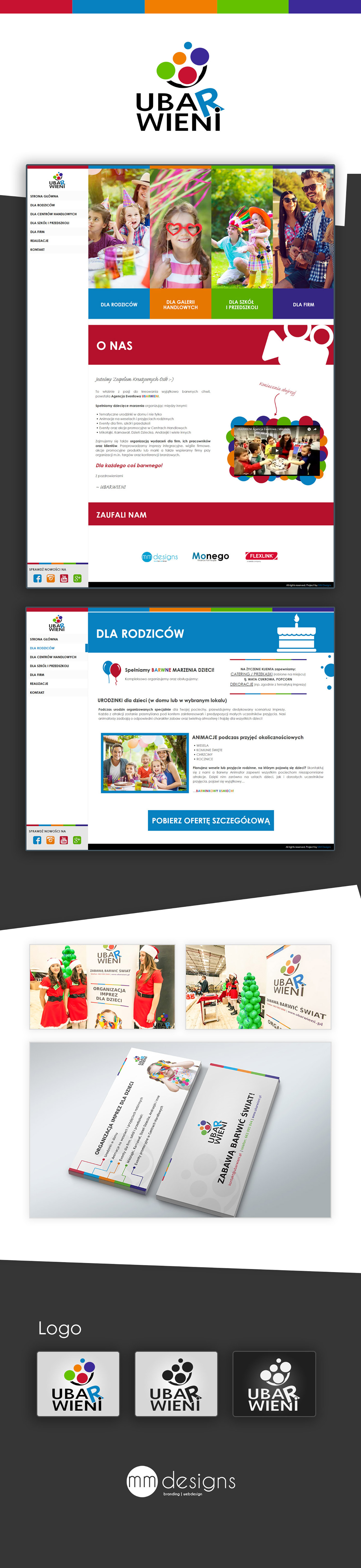 leaflet rollup page Website Web design brand logos Events for children