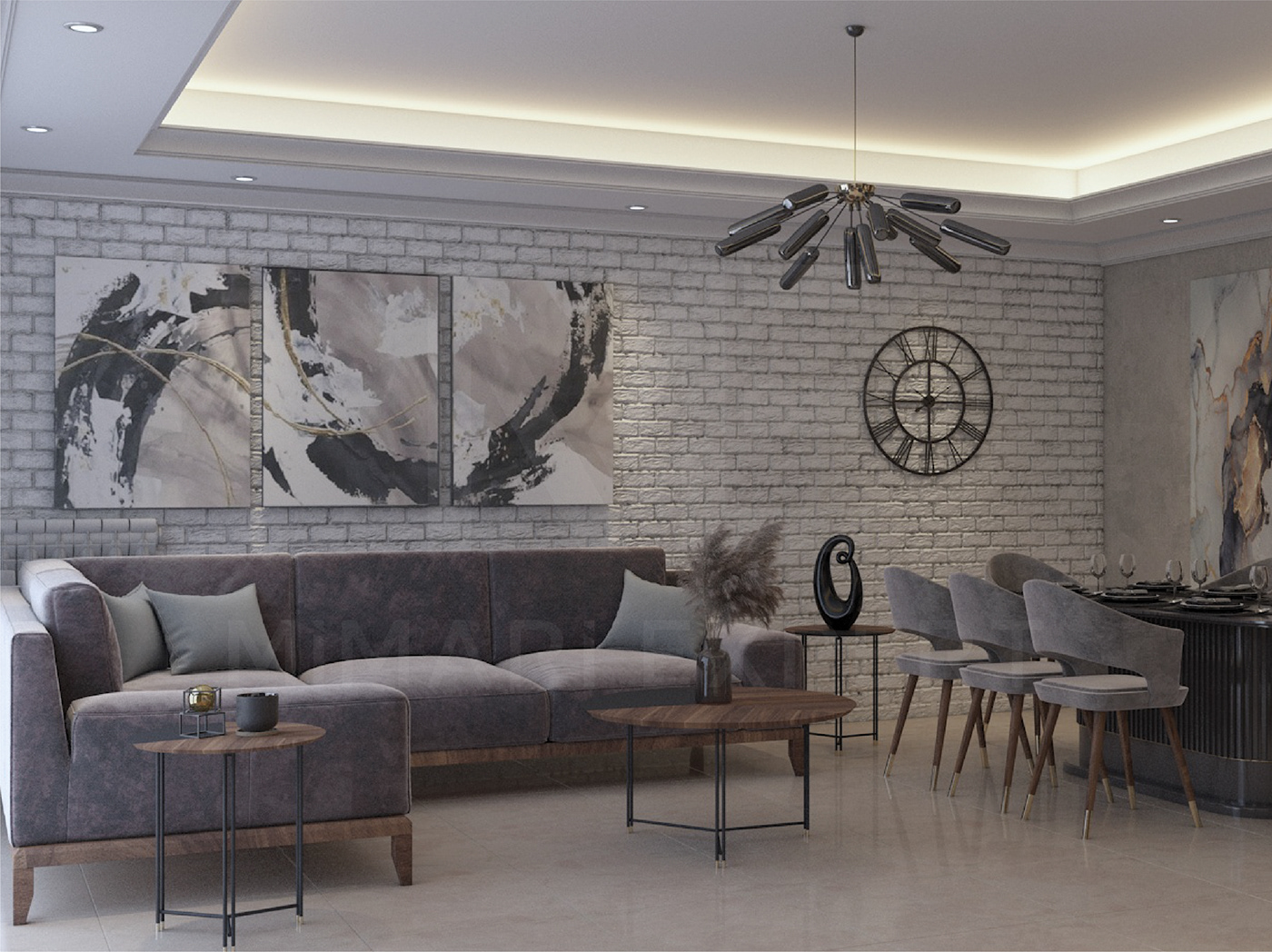3d design apartment architecture art decorations Engineering  Engineering Projects false ceilings furniture wall paper