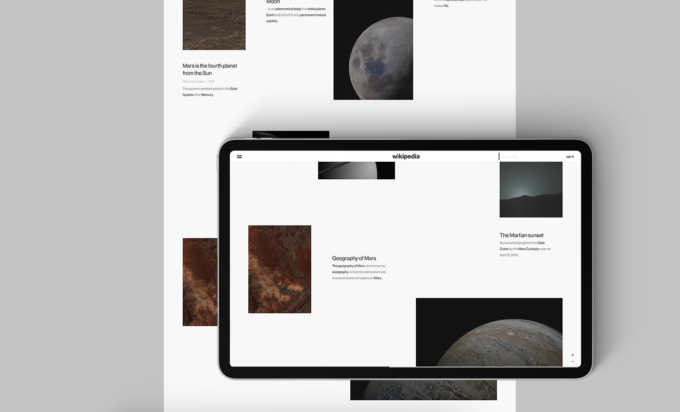 minimal Wikipedia clean White Planets Dinosaur Web uiux concept Agima