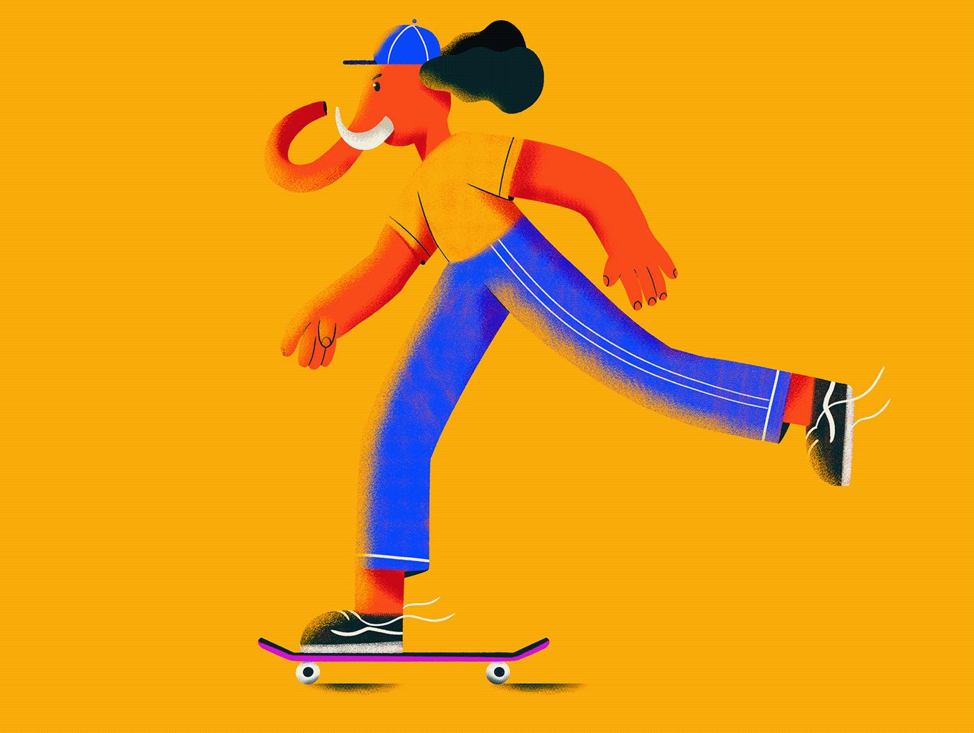 animals bold colors Boxing Character Character design  Digital Art  football motion skate sports