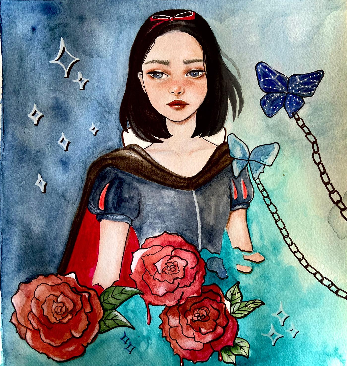 art disney ILLUSTRATION  Princess snowwhite watercolor