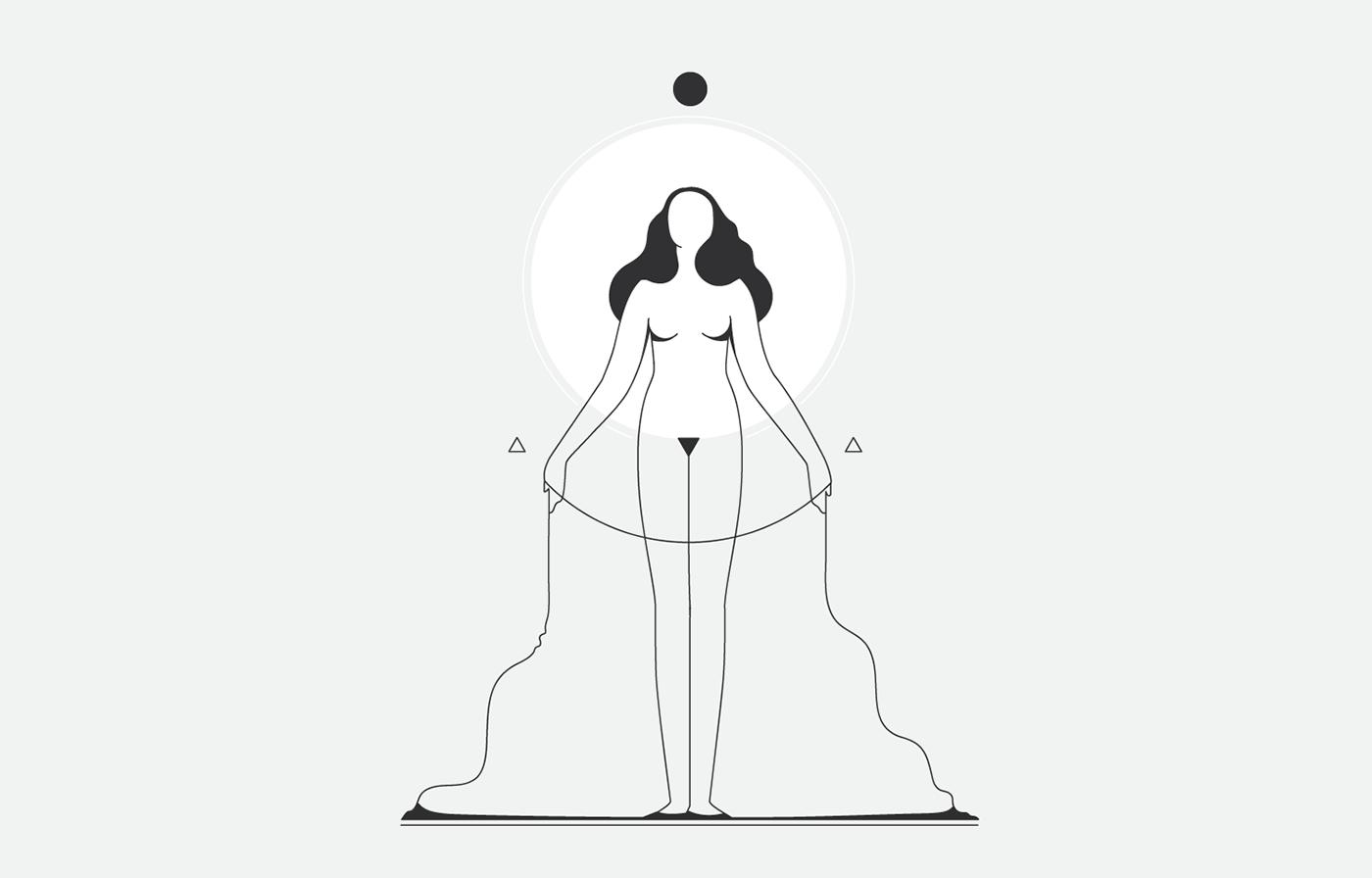 moon lunar dark lineart girls minimalistic black White nignt dream