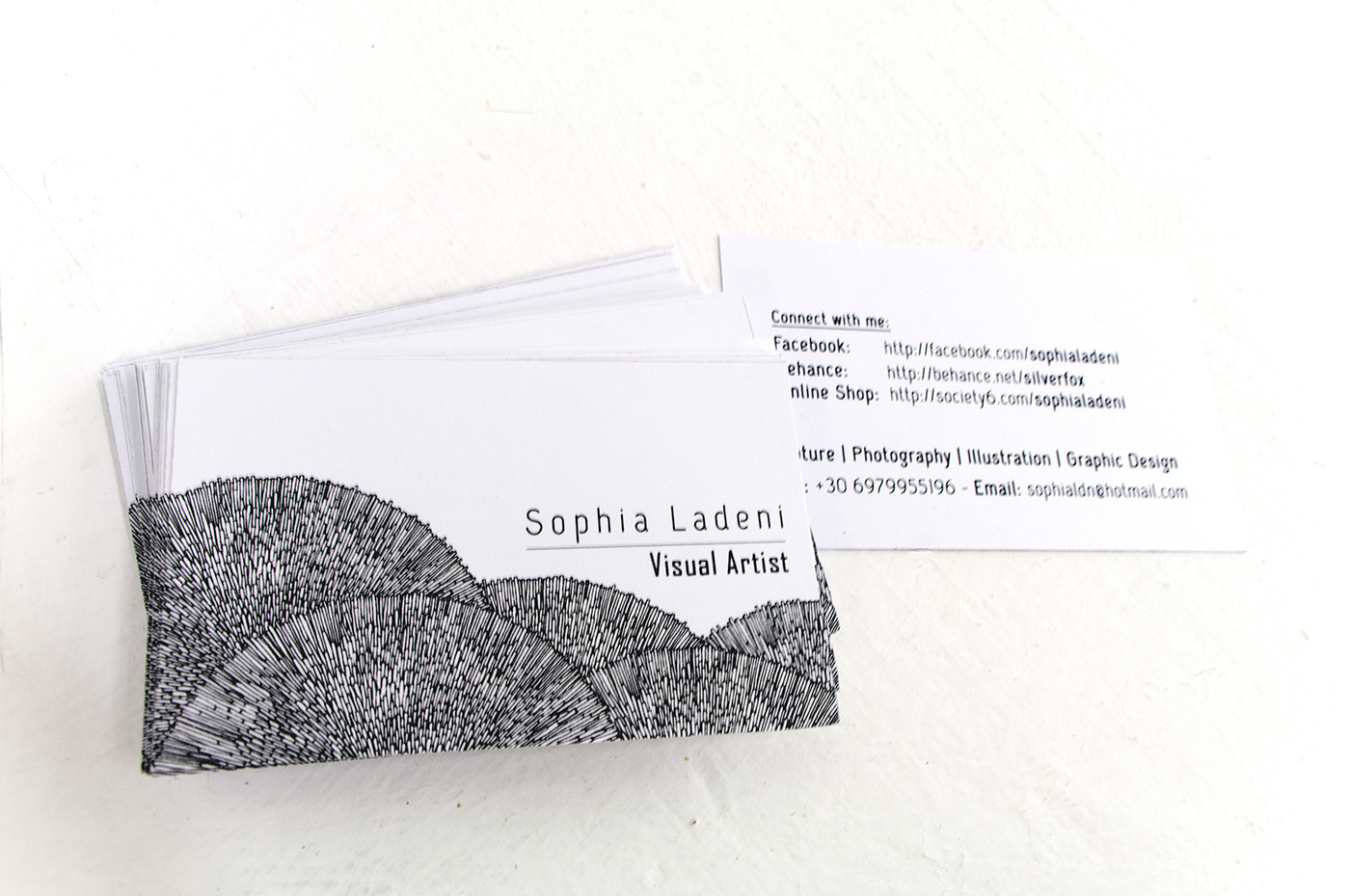 2 sided business card front and back the lineart in the front is part of a drawing of mine