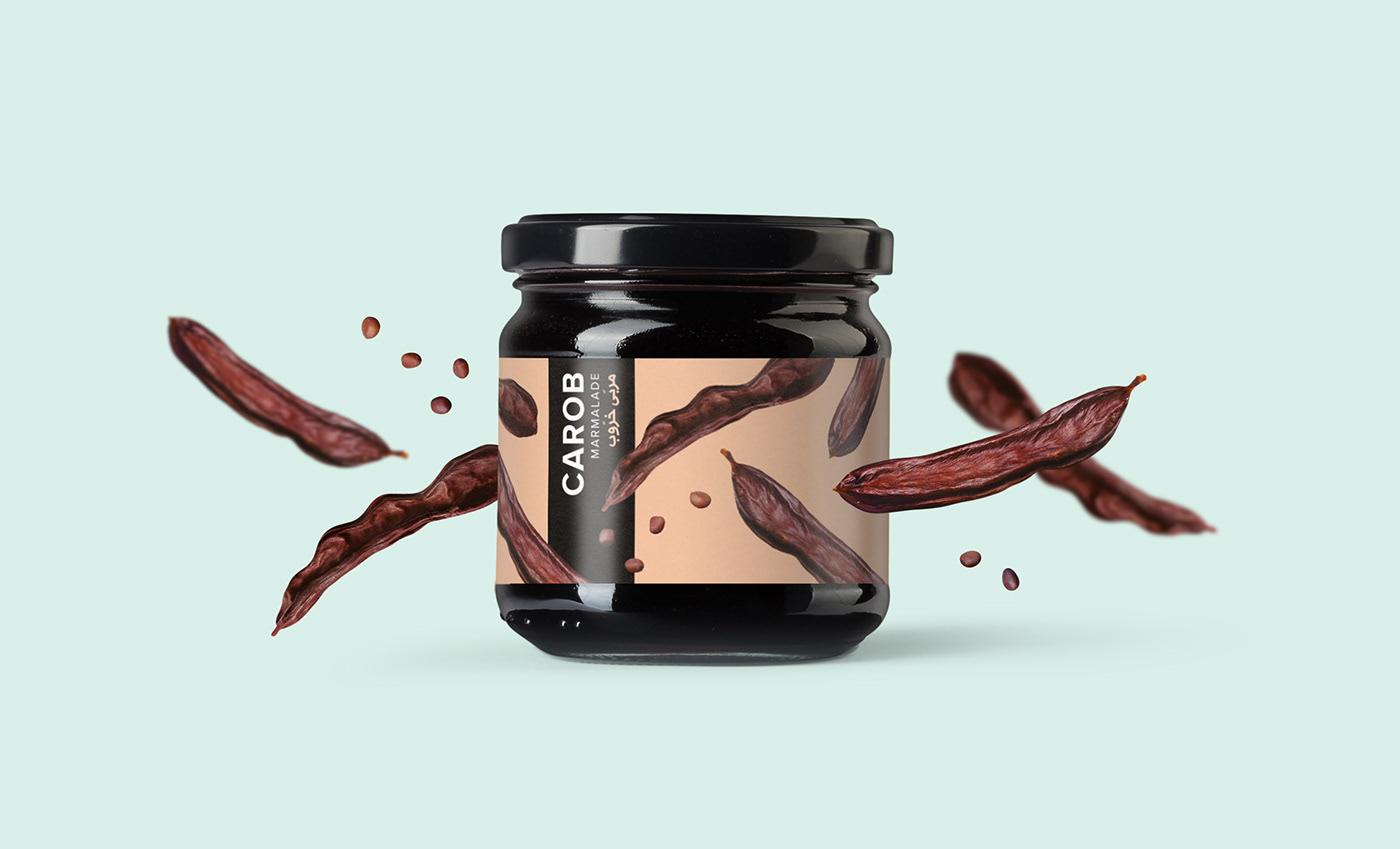 bio fruits greek jars marmalades Packaging Pop colors