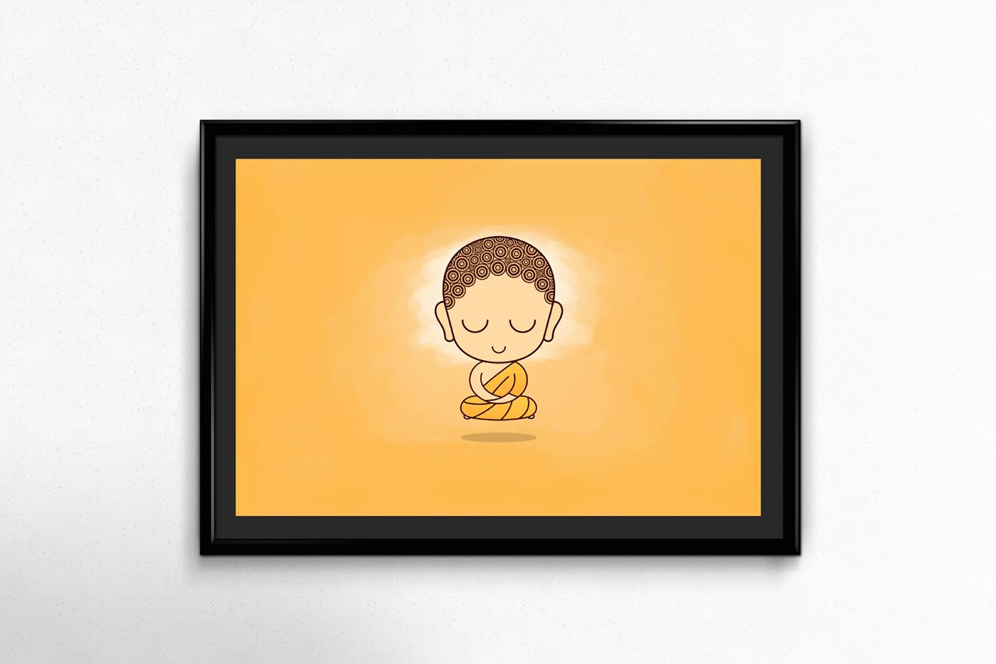 flat,art,Buddha,caricature  ,cartoon,cute,poster,buddhism,Icon,sticker