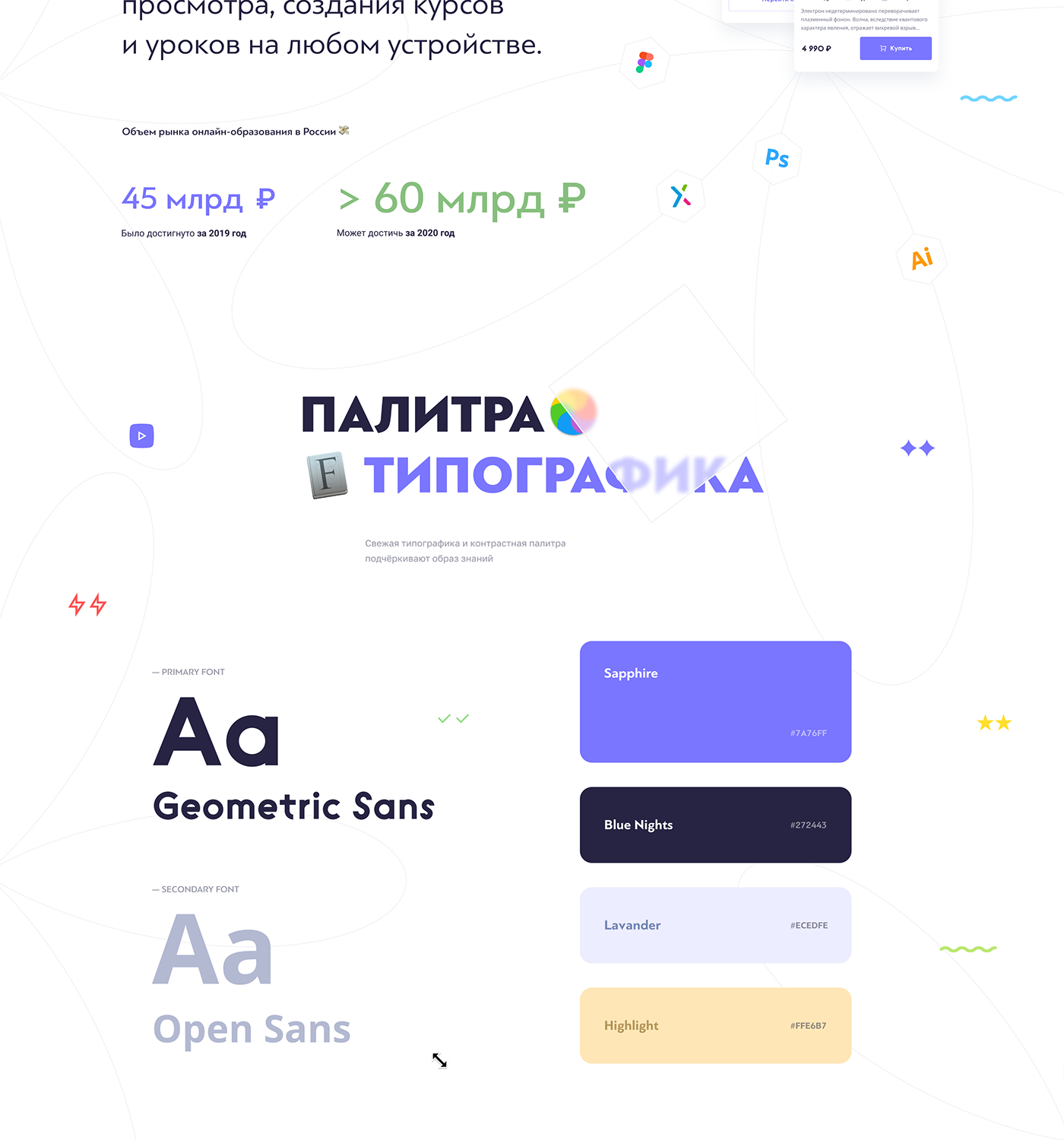 Typography, Color, Palette, Statistics, Numbers, Cards, Shop, Ecommerce, Profile, Social, MAC OS, ru