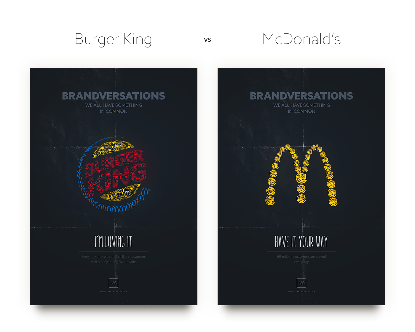 Adobe Portfolio posters brand Nikon Canon McDonalds Coca Cola Burger King apple firefox Internet Explorer asafti Stefan Microsoft
