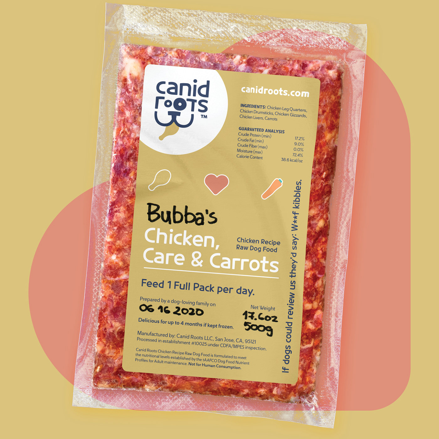 Image shows a mockup of the packaging label. The flavor name is Chicken, Care & Carrots.