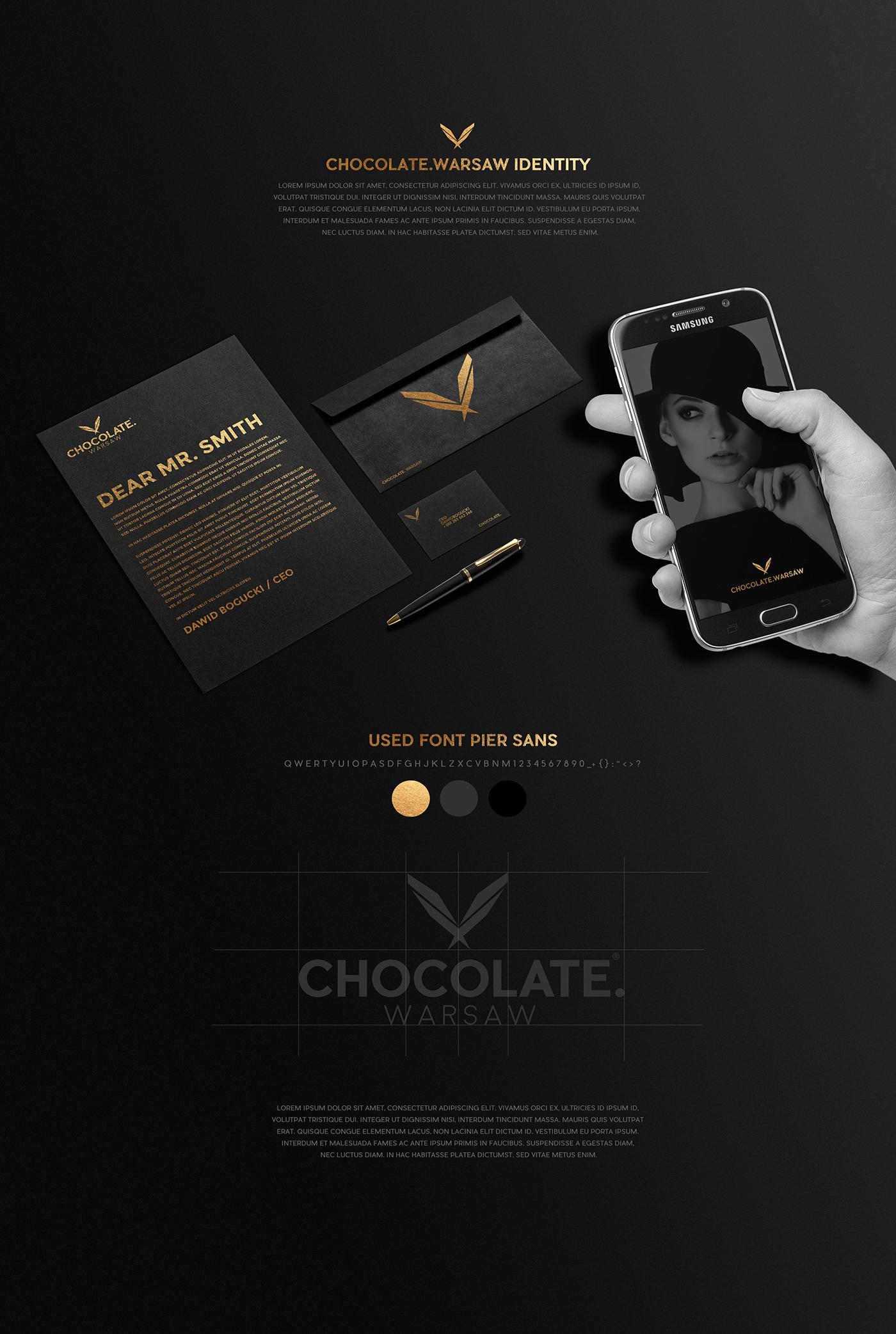 elegant brand concept Style agency warsaw choco chocolate models poland bogucki design identity gold