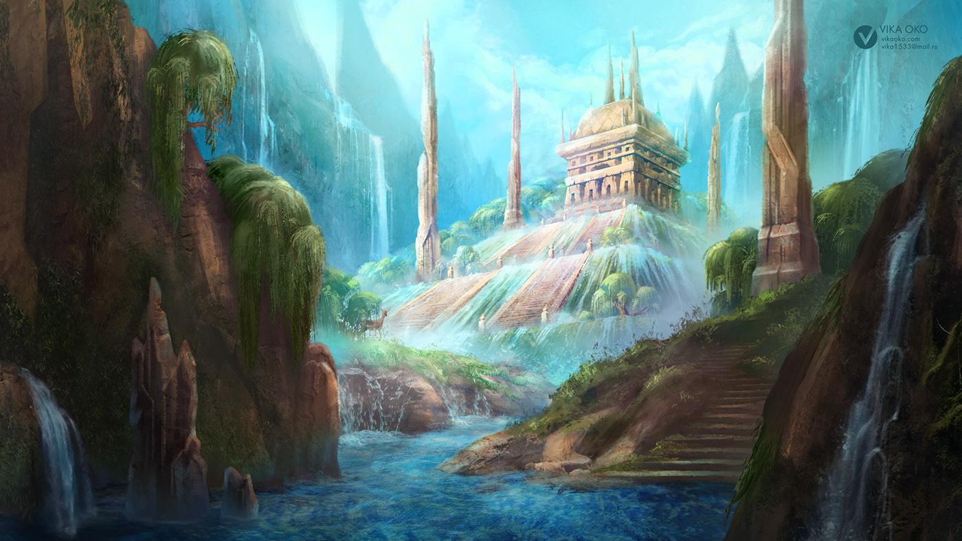 art concept development digital environment ILLUSTRATION  jungle Nature Photobash temple