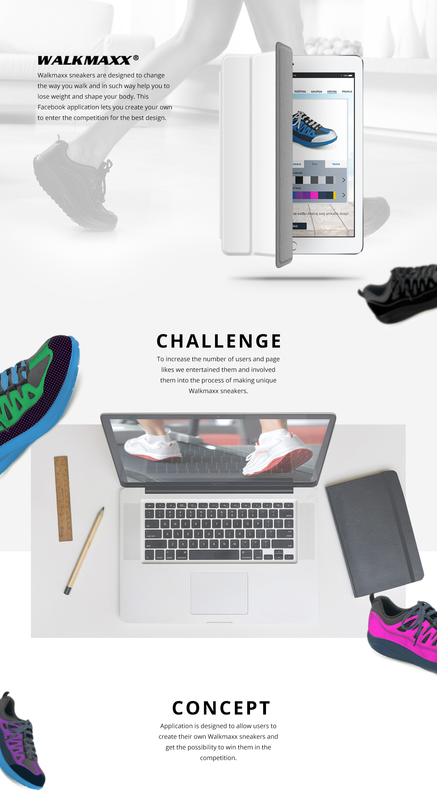 facebook application UI ux Web design interraction shoes body fitness development fan Like creative Competition