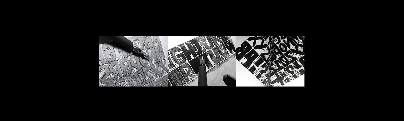 linocut Typeface font free peich Montreal Blockprinting poster Free font blockprint