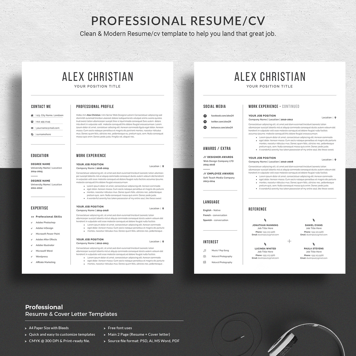 Professional Resume Templates Word on Behance