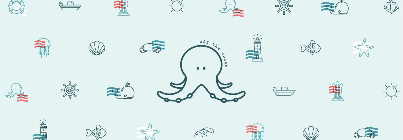 sea pattern waves blue fish summer Sun octopus Icon Coast