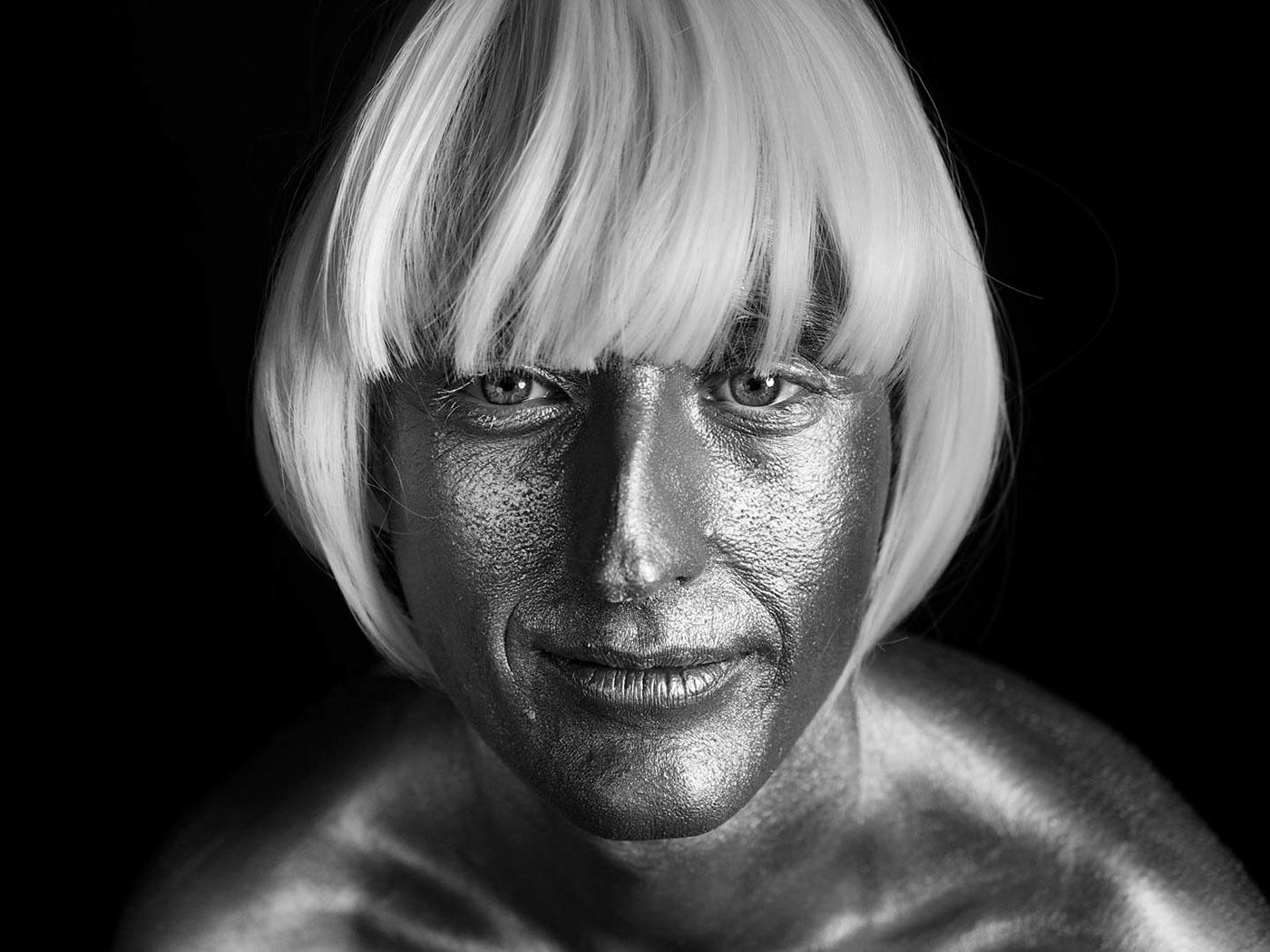 portrait,silver,monochrome,model