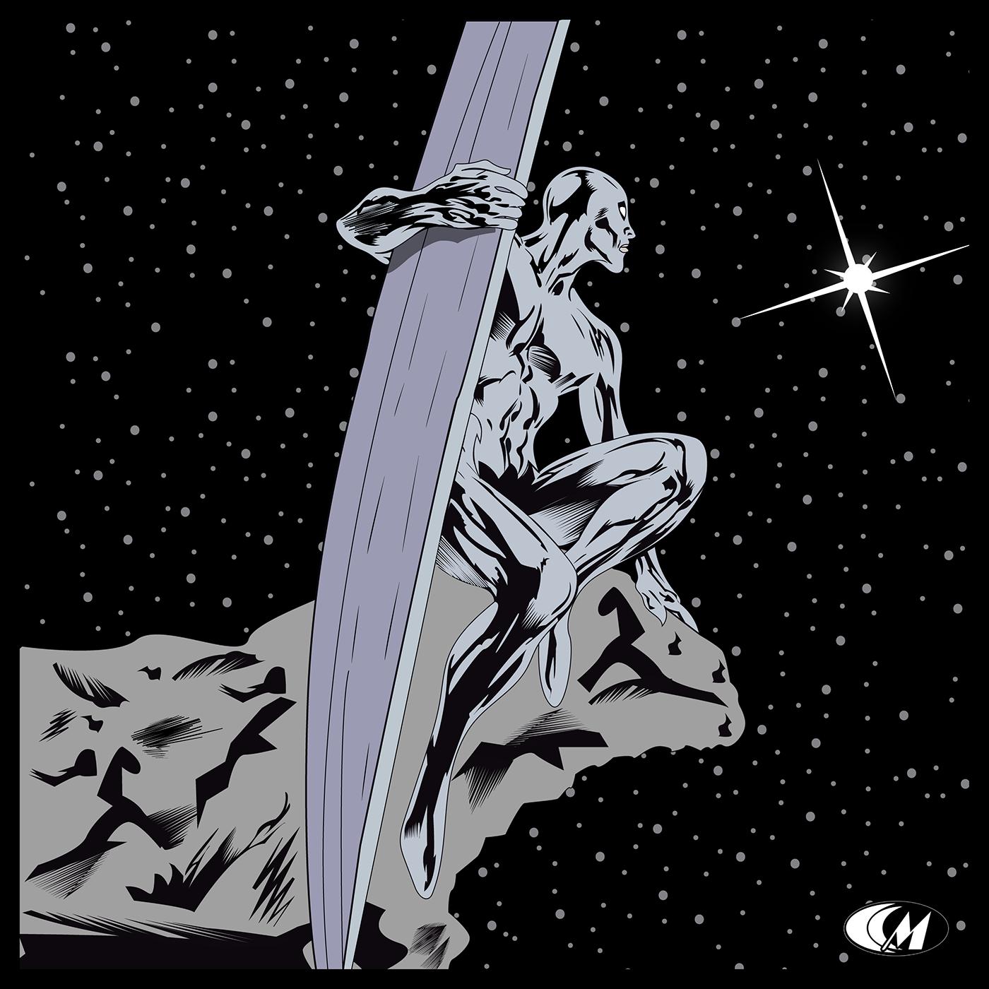 silver surfer ILLUSTRATION  cartoon Comic Book graphic marvel fantastic 4