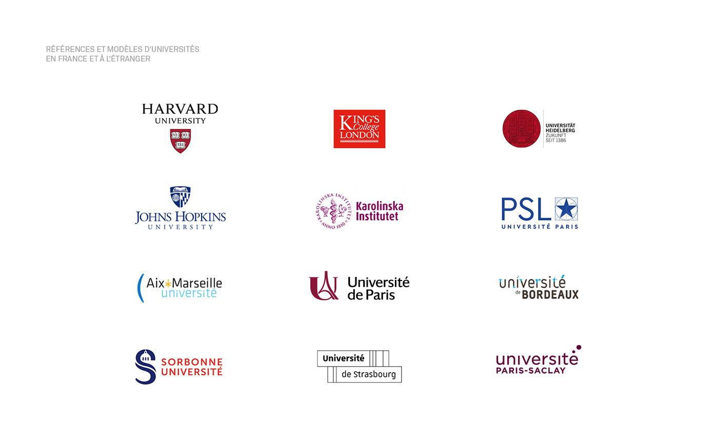 University Education Paris logo monogram Sciences research Icon branding  city