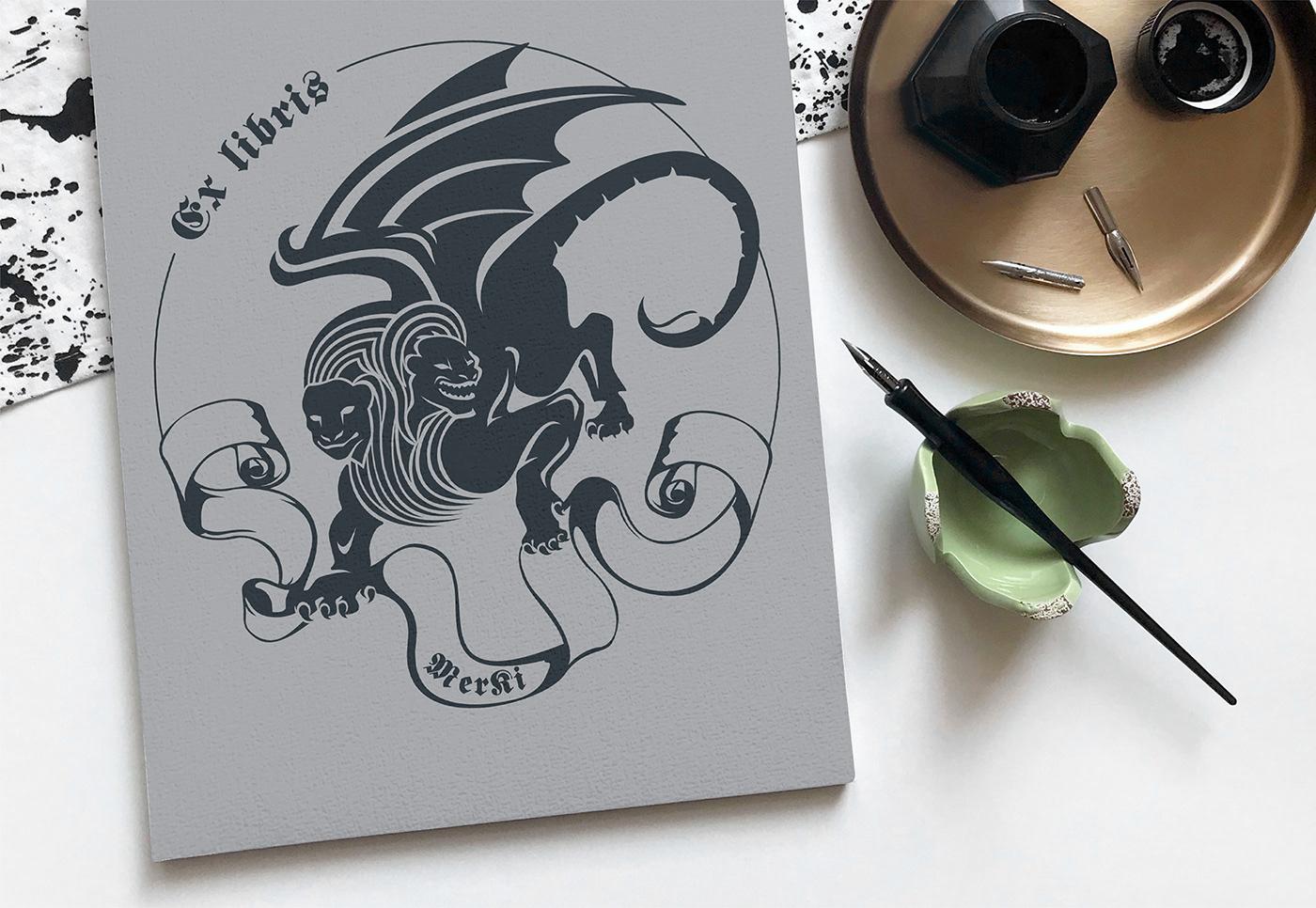 brand Ex Libris fantasy graphic ILLUSTRATION  Manticore Mystic mythology sign tattoo