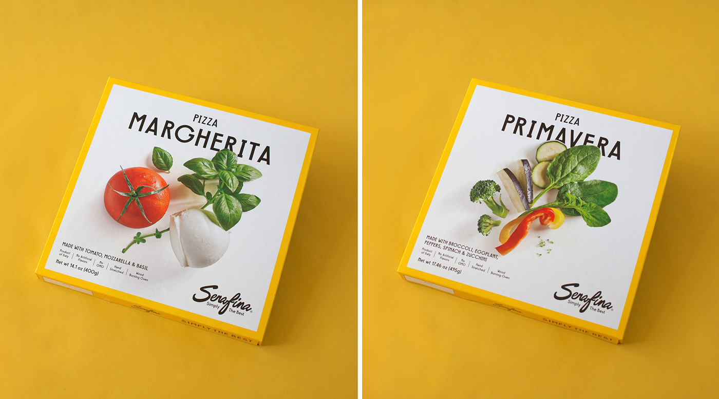 Packaging design Serafina Pizza Still Photography art direction  New York Photography  Food Packaging