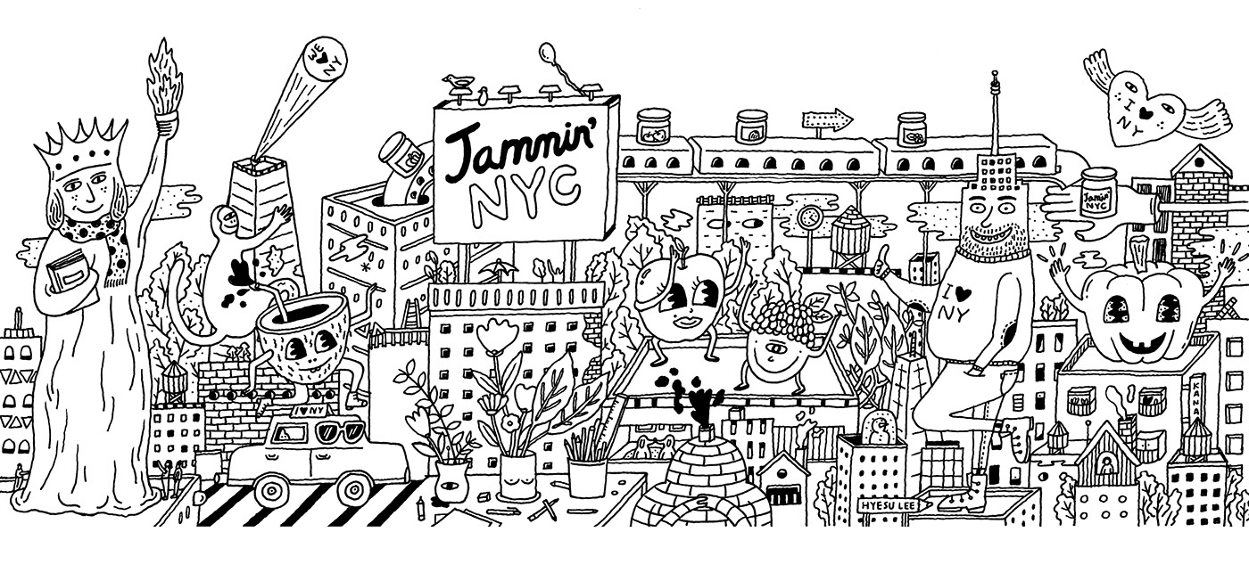 Line Art Mural : Jammin nyc mural on behance