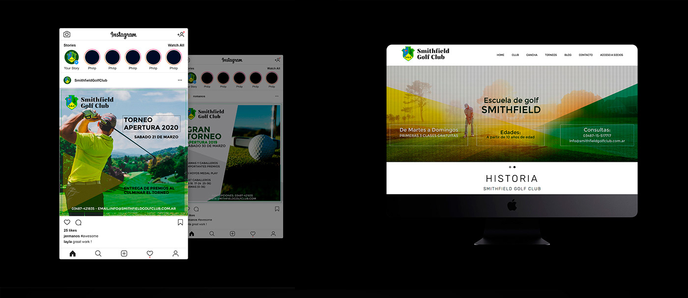 branding  cms cms management comunicacion para redes diseño gráfico diseño responsive Diseño web golf