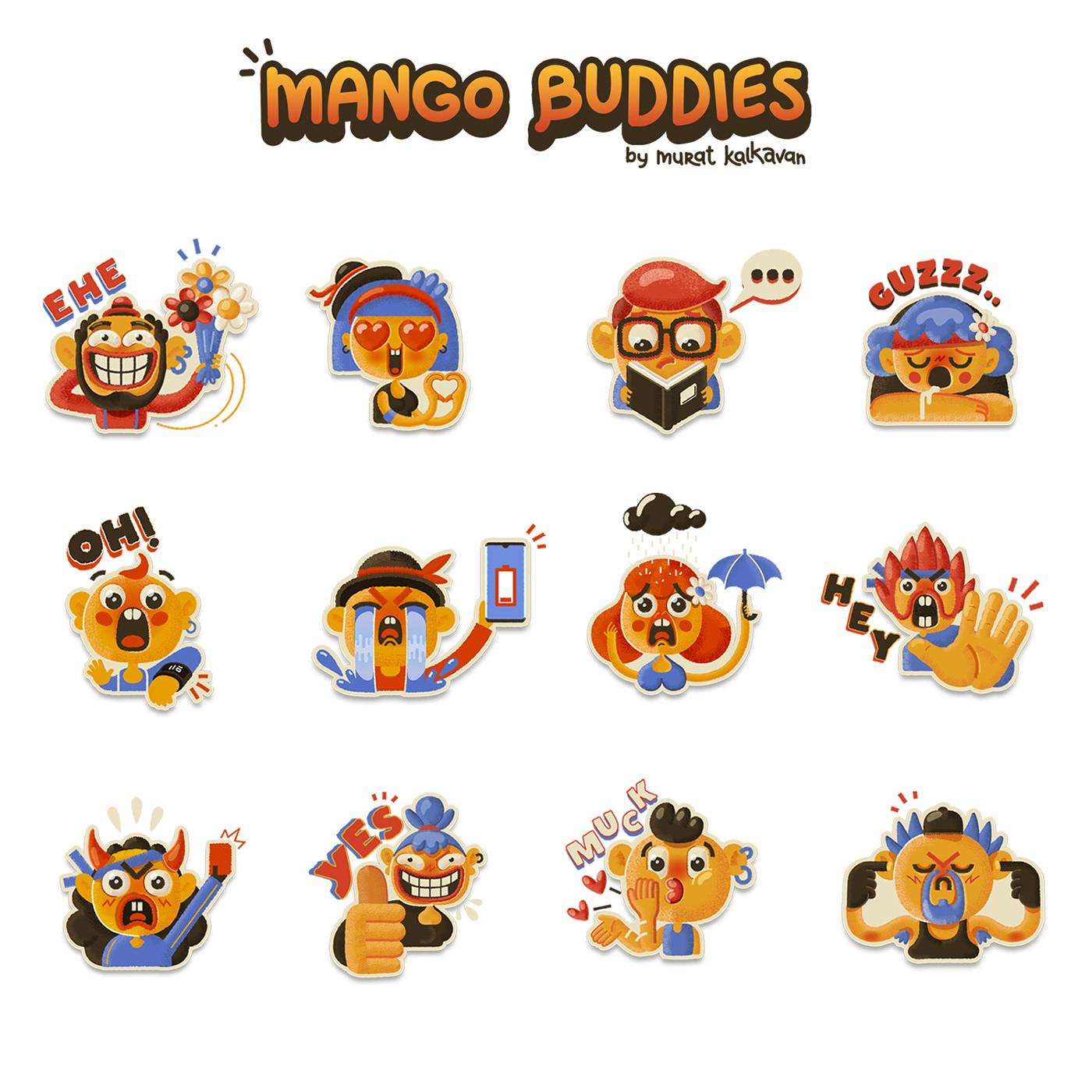 Mango Buddies Stickers Pack on Behance