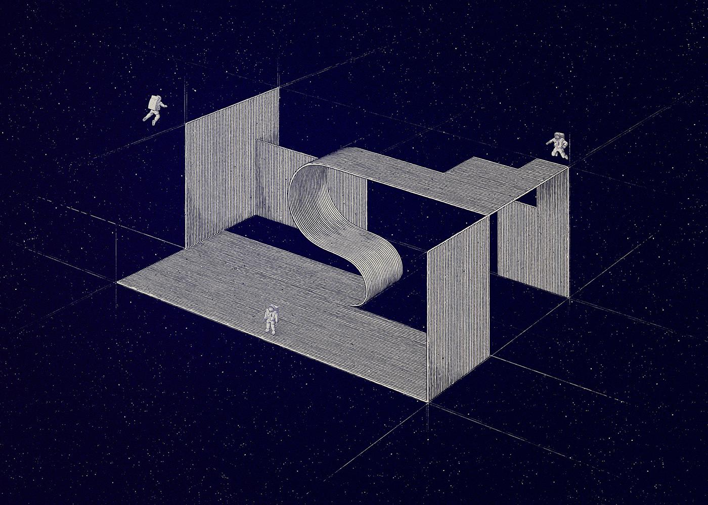 astronaut constructivism kobro screen print Screenprinting silk screen silver Space  spatial composition