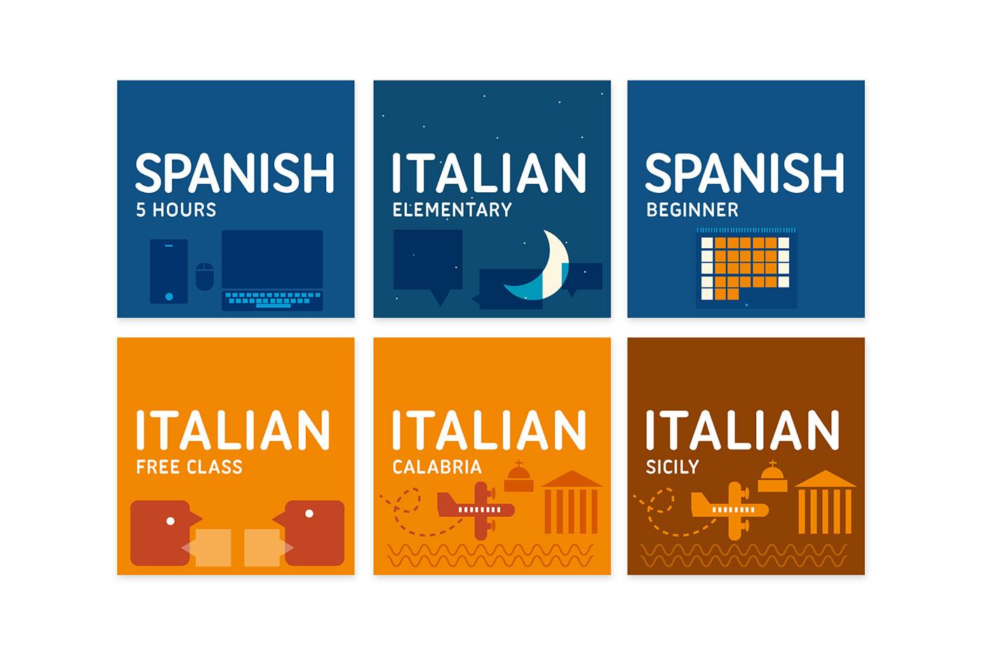 flat design Languages learning branding  logo art direction