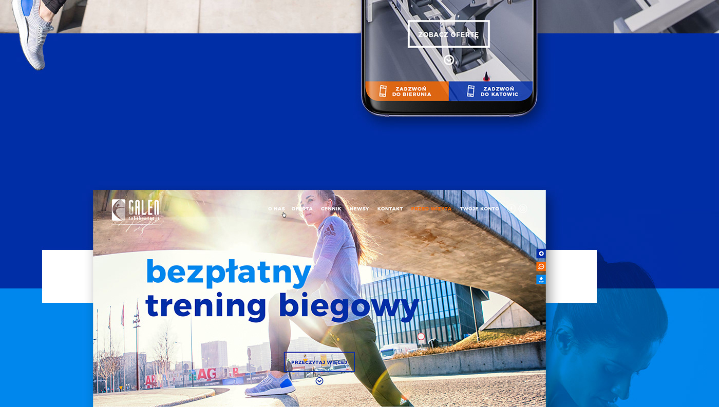 Web sport rehabilitation Cycling Health blue design calm poland best