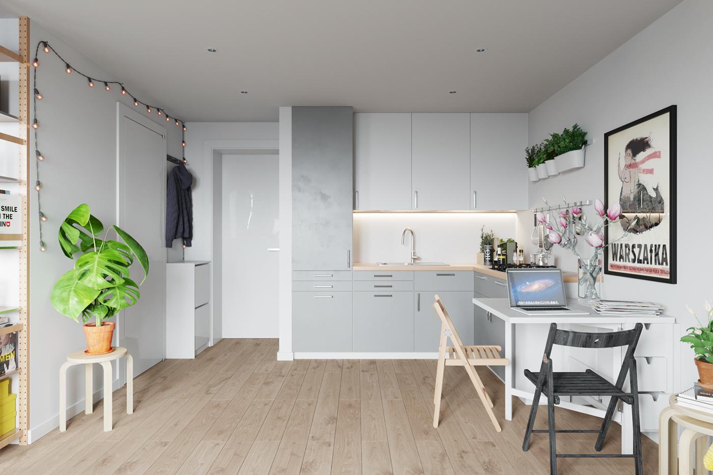 Small apartment interior in warsaw poland 008 on behance for Foto di appartamenti arredati