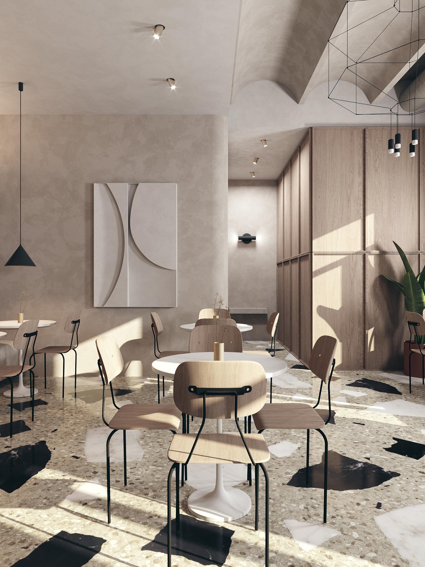 cafe concrete Minimalism wood architecture design Terrazzo arch Interior restaurant