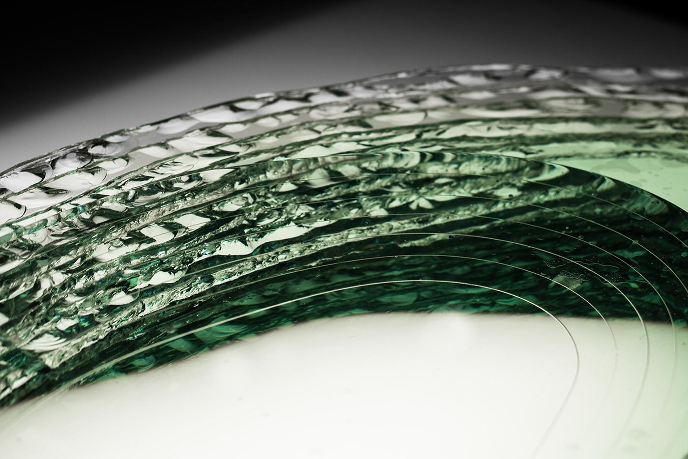 sculpture glass transparent green light minimal emptiness