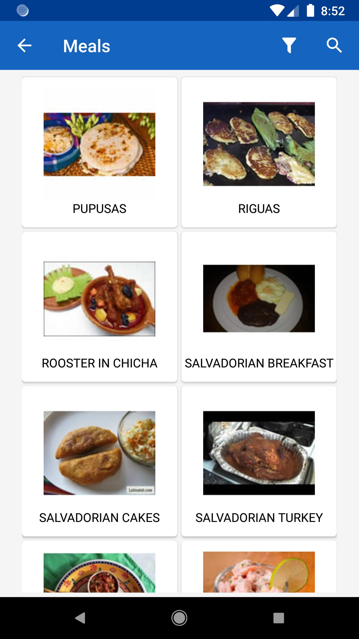 Food  cookbook El Salvador material design android mobile development typical dishes