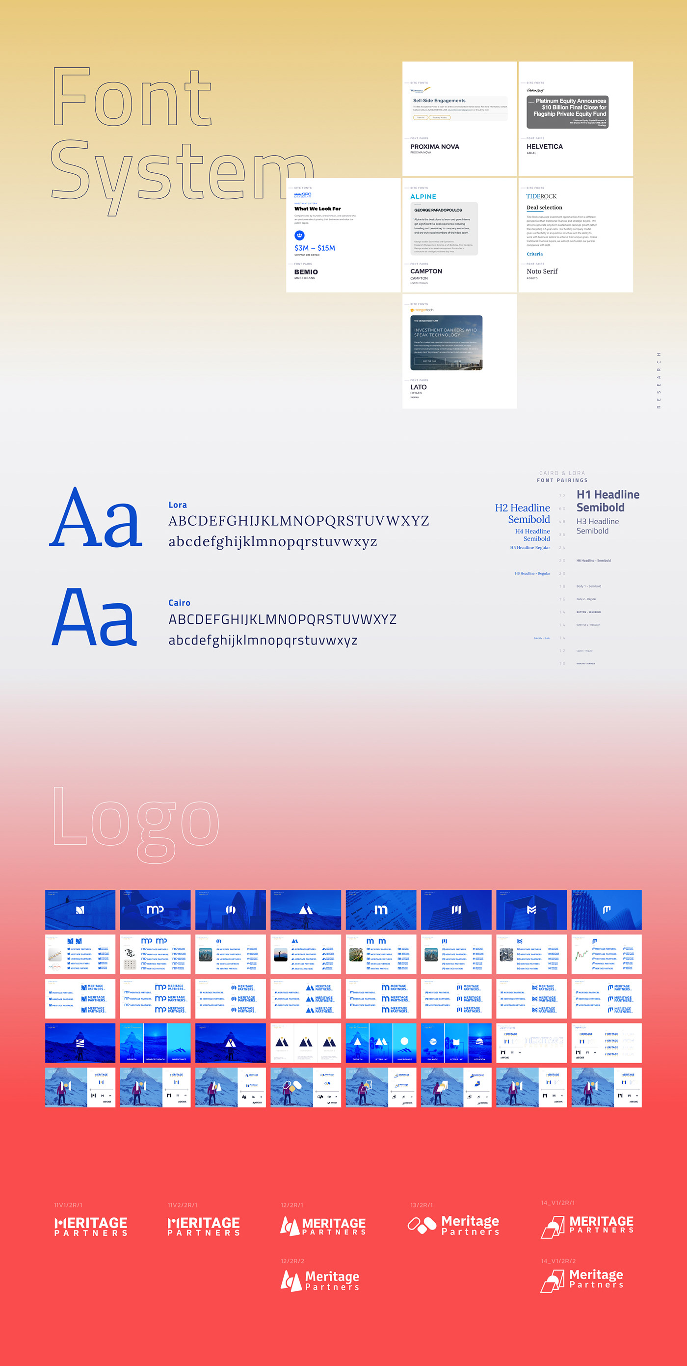 Font research and font system as a part of brand identity and rebranding process. Logo versions