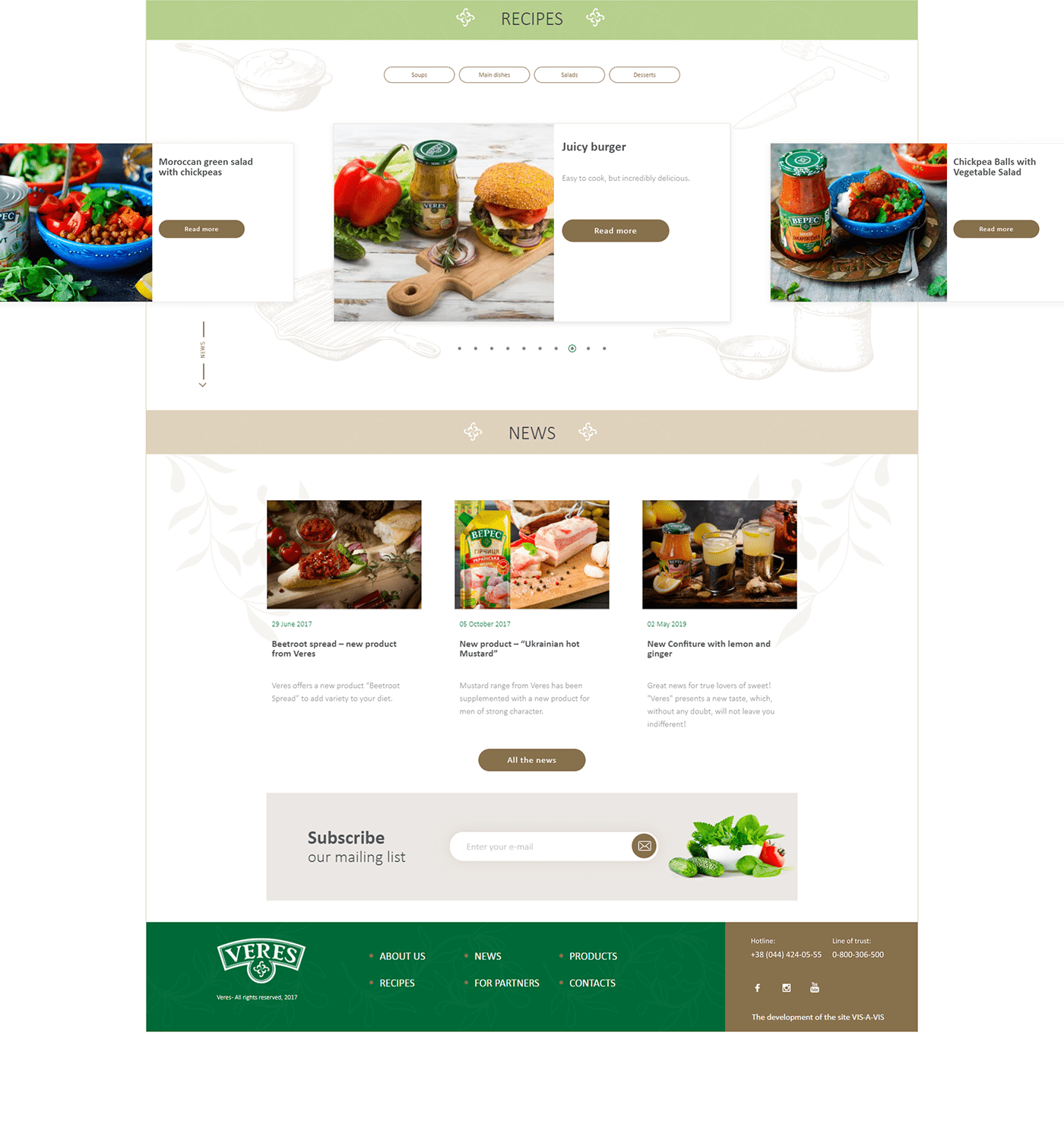 development eat Food  product shop site UI/UX veres vis-a-vis Web Design