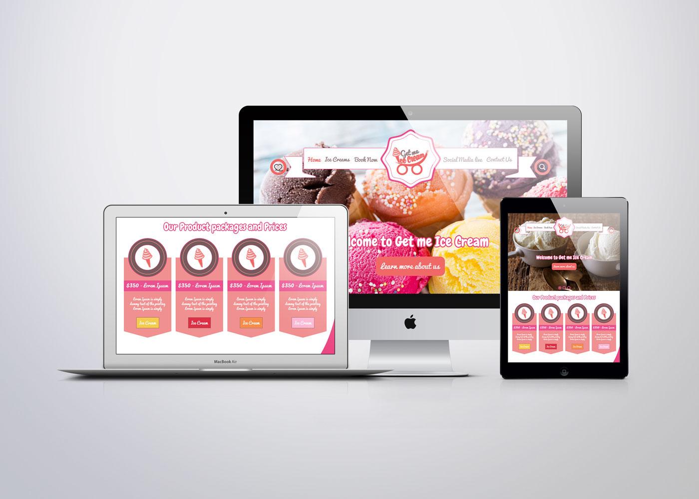 graphic design Website get ice cream dubai brand UI ux