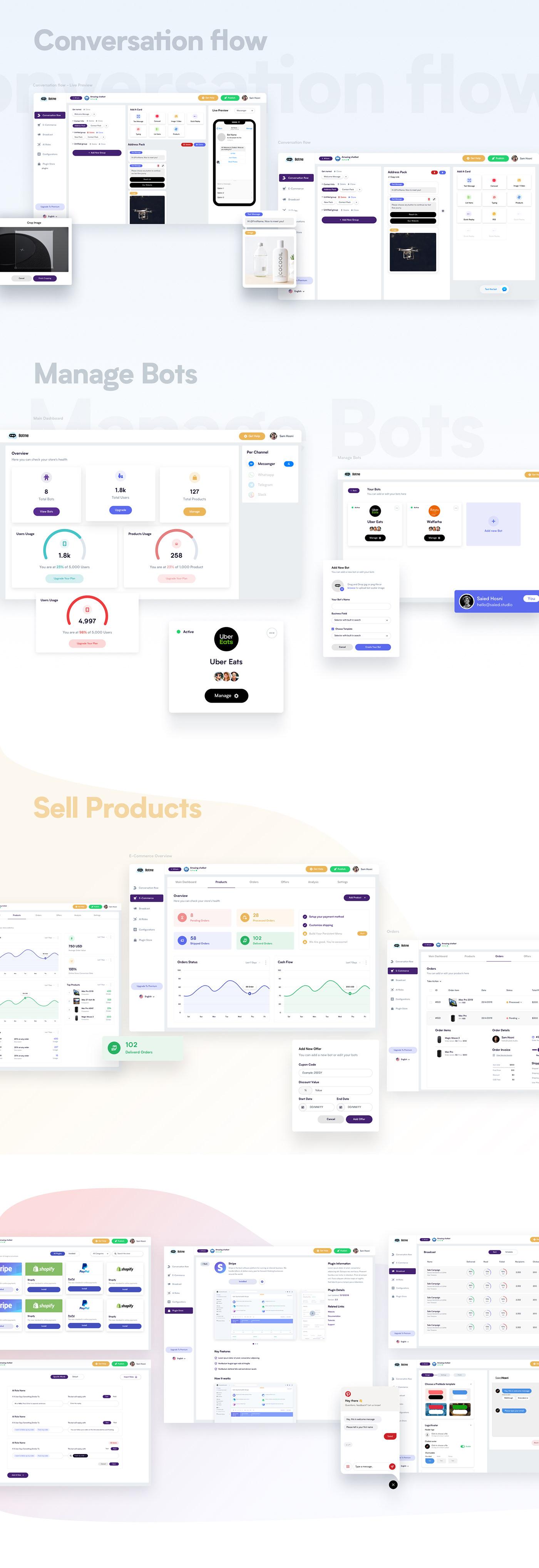Web app dashboard design bot landing page Chatbot builder Bot Builder UI/UX