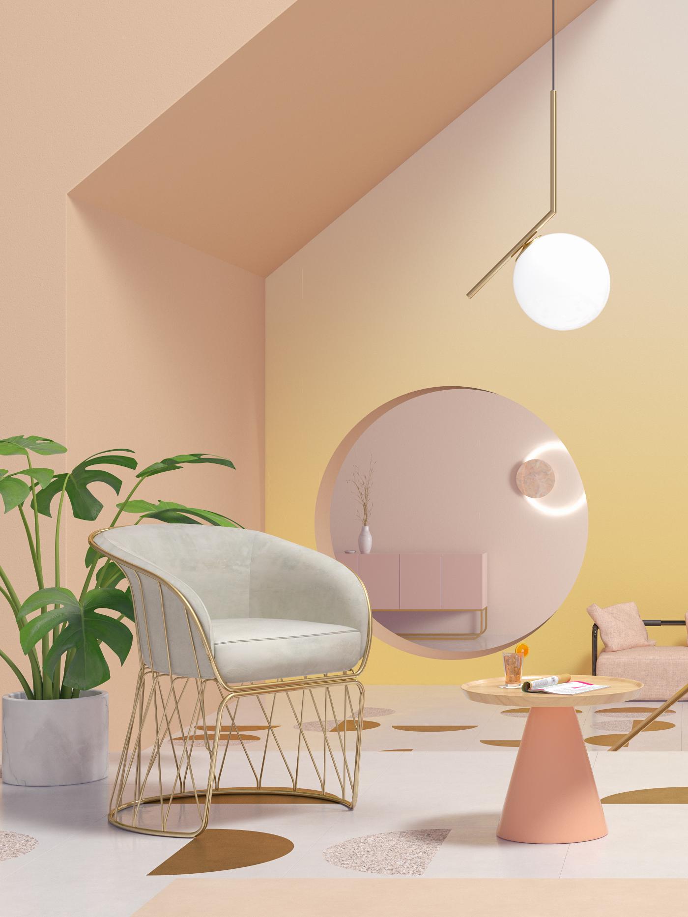Interior seasons colors temperature designer Icon chair sofa fabric Lamp