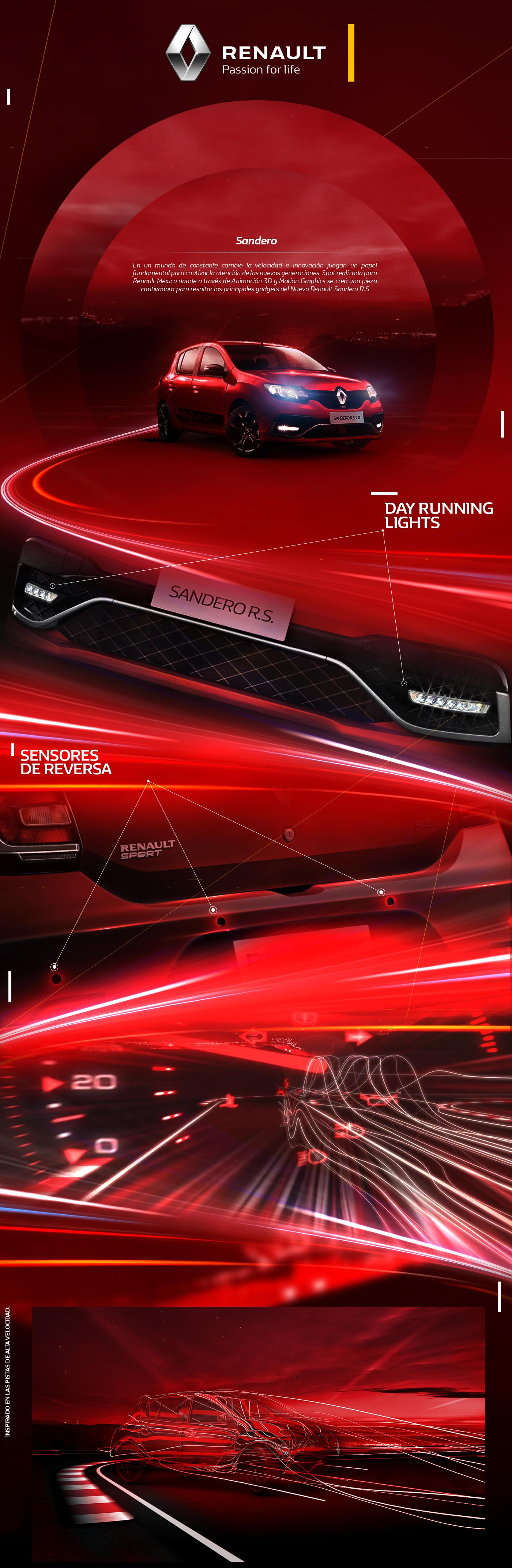renault sandero car 3D motion graphics  rs