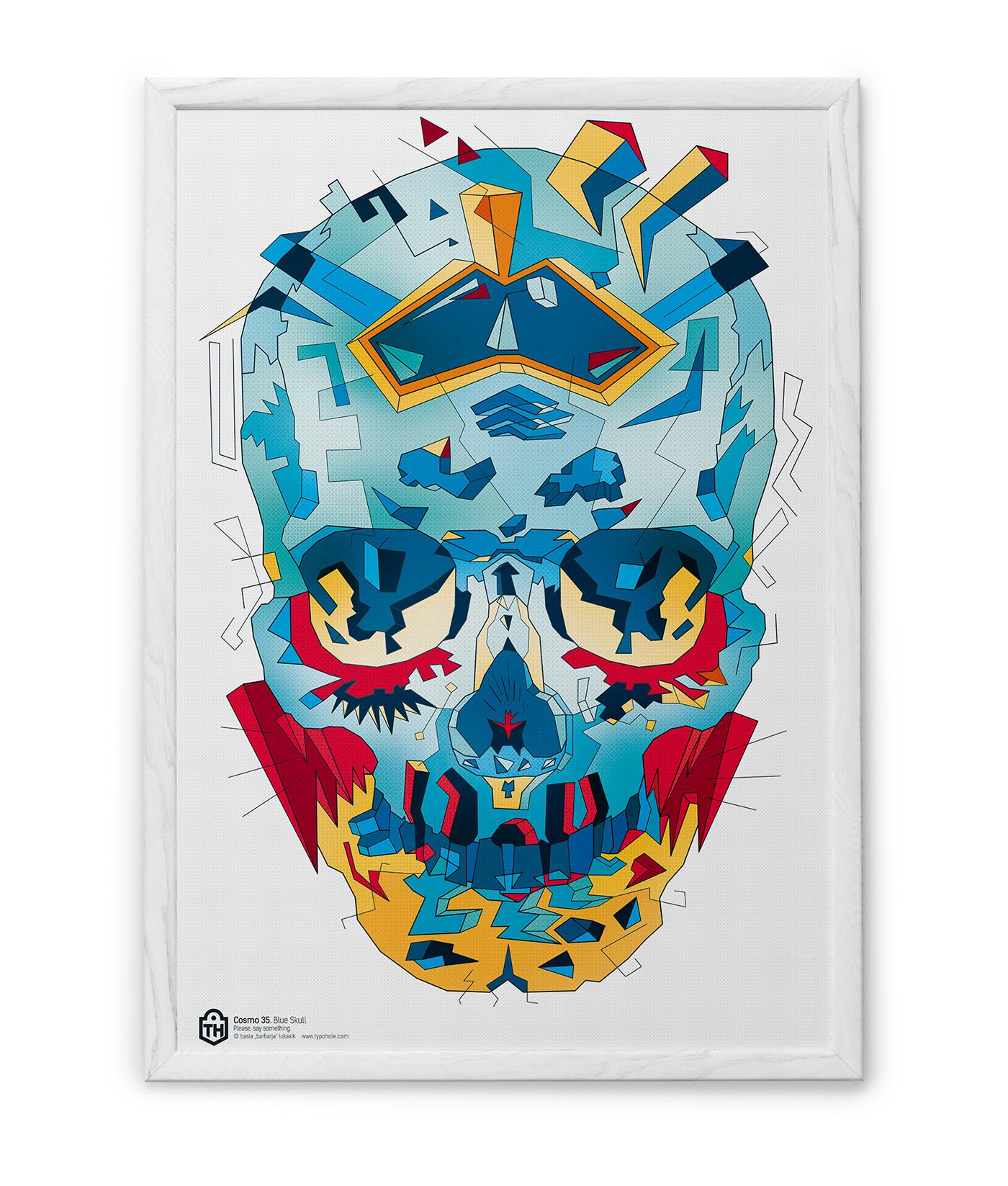 illustartor skull blue geometric