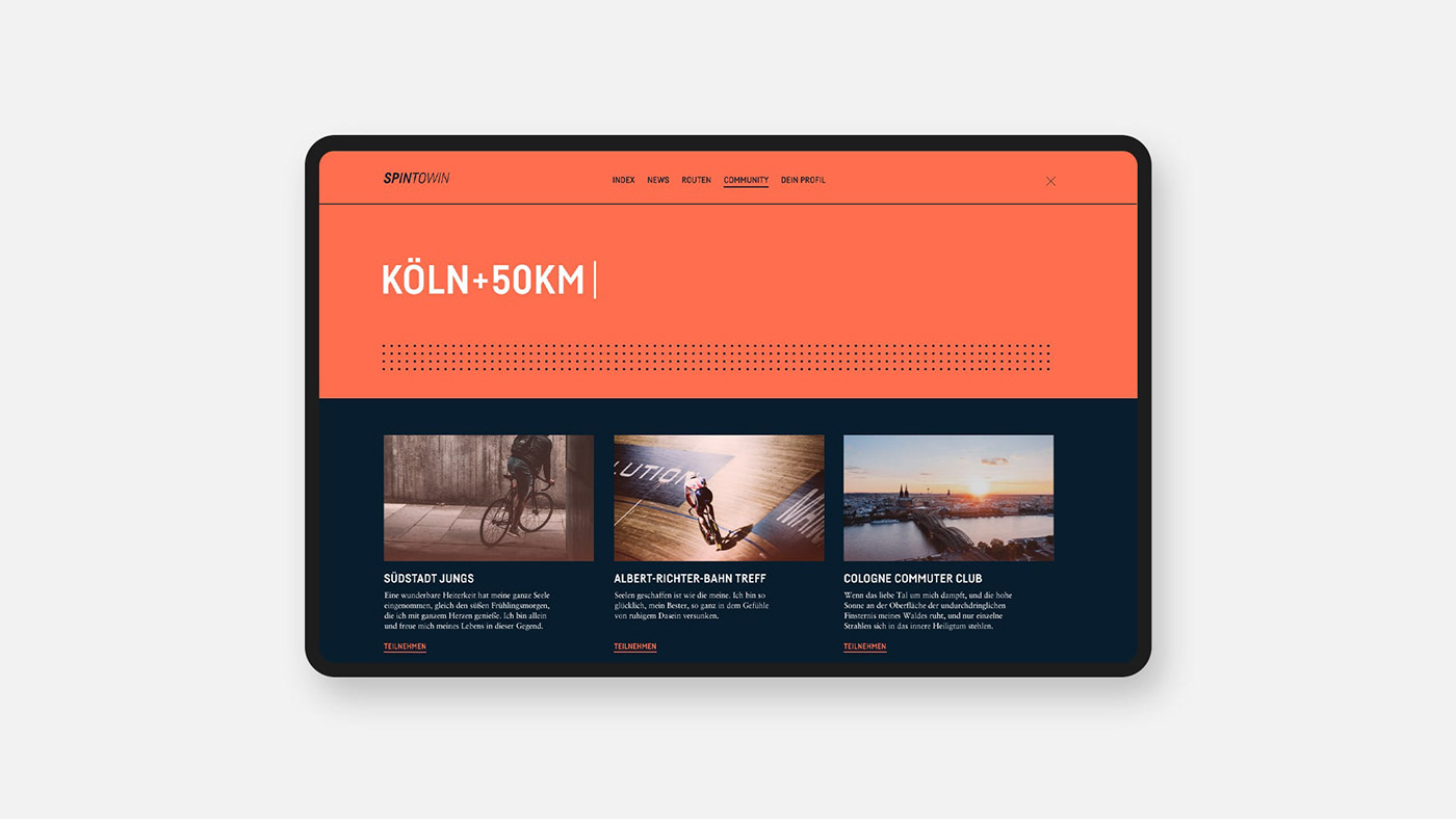 blue branding  Cycling halftone identity orange roadbikes routes Urban Webdesign